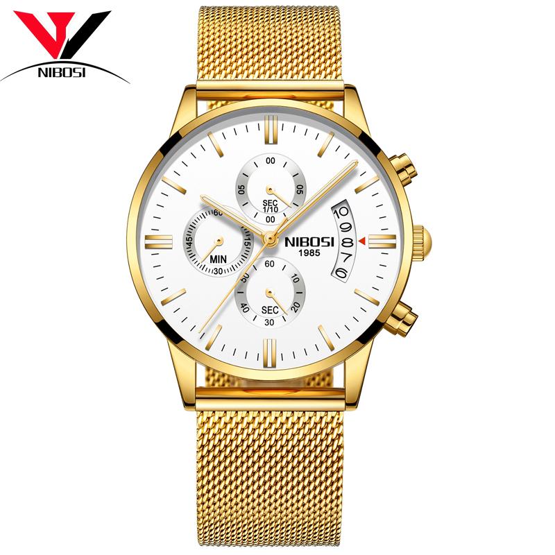 NIBOSI Белый DialGolden Edge Steel Belt Мужские часы
