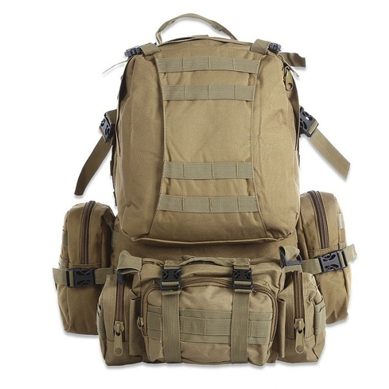 Sisjuly Обнаженный цвет универсальный 50l molle tactical outdoor assault military rucksacks camouflage backpack camping bag new style sports mountain top backpack