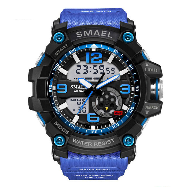 smael Темно-синий weide casual genuine men watches luxury brand watch quartz analog men sport leather watches waterproof schocker clock army watch