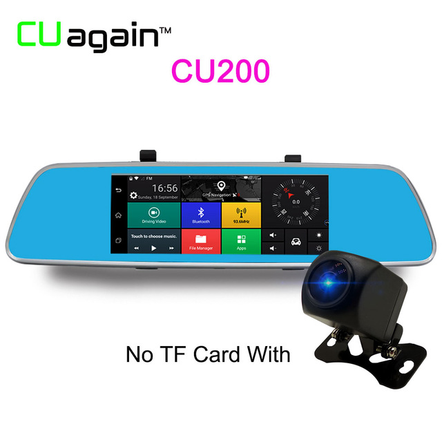 CU200 1080p mymei 5 inch multifunction car dvr voice control android gps bluetooth rearview mirror monitor dual lens 1080 p video camera