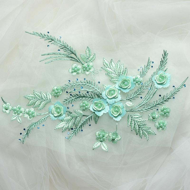 Zbroh Зеленый обрезка буквенных патчей многоцветная вышивка кружева аппликация diy аксессуар