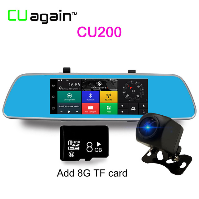 CU2008G 1080p mymei 5 inch multifunction car dvr voice control android gps bluetooth rearview mirror monitor dual lens 1080 p video camera