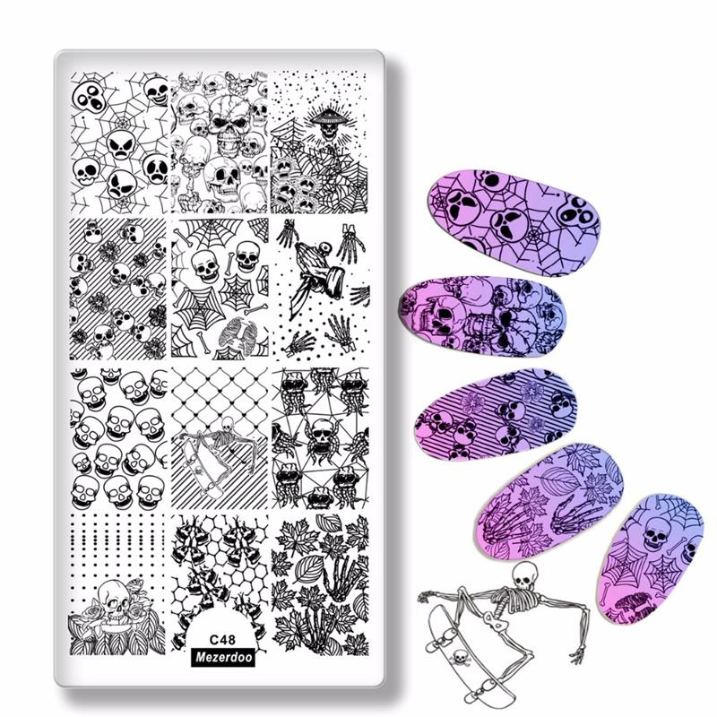 штамповка штампов цветы лист шаблон для ногтей штамповка бабочка изображение штамповка печать nail art templates diy manicure stamp tools 12 6cm