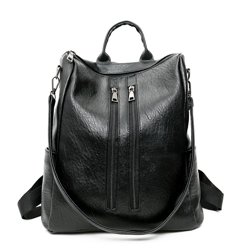 HANEROU черный fashion genuine leather backpack women school bags for teenage girls backpacks high quality rivet ladies backpack sac a dos 2018