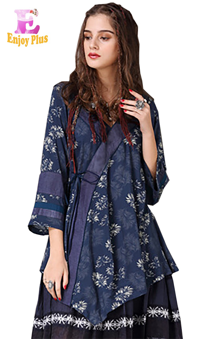 Женская блузка с длинным рукавом ENJOYPLUS Синий цвет Номер М фото