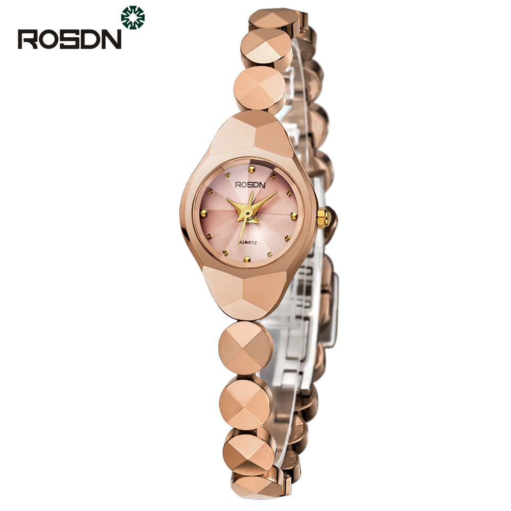 ROSDN шампанского Золото women watches top brand luxury fashion slim red leather strap roman numerals dial quartz wrist watch ladies clock montre femme
