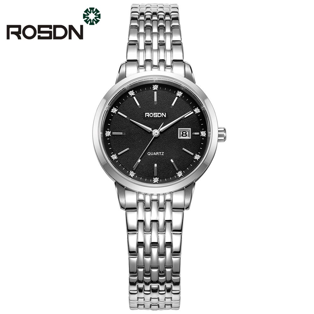 ROSDN Черный циферблат Стальной пояс Женские часы женские наручные