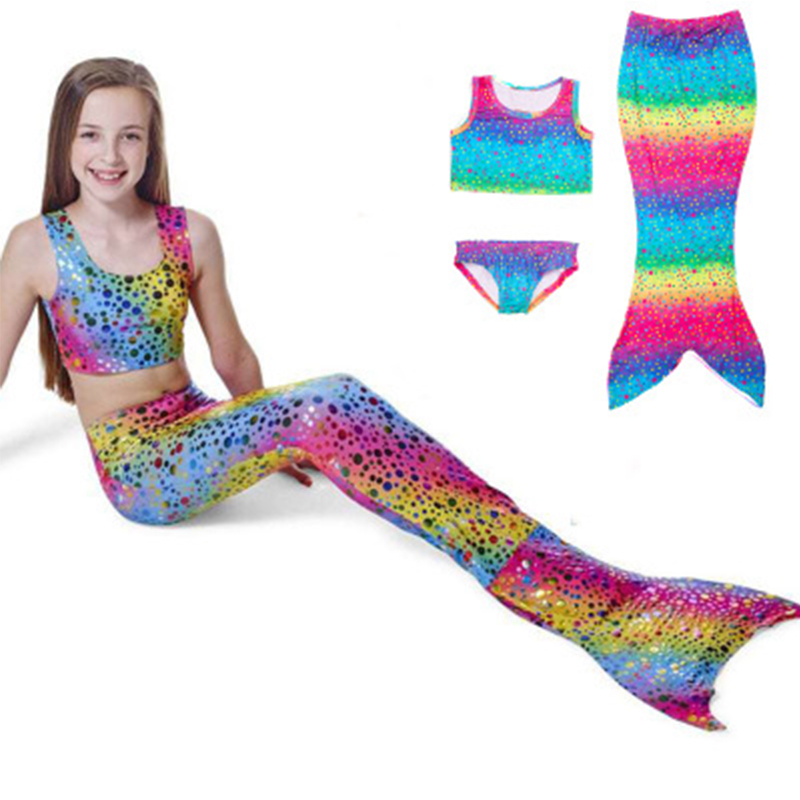 Sisjuly Голубовато-зеленый 120 см Купальники для девочек Mermaid Tail