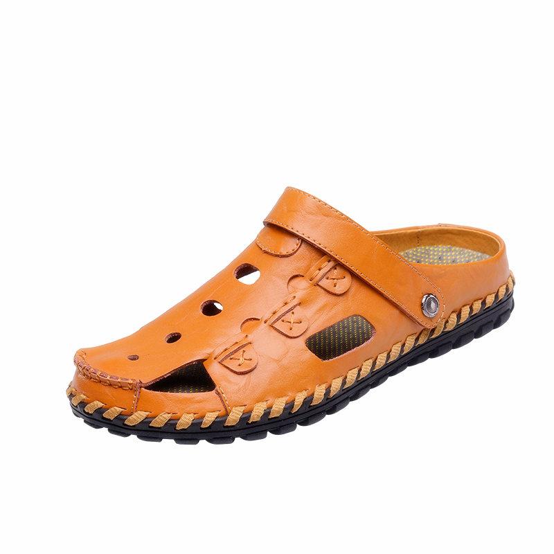 DJSUNNYMIX Brown 42 высокое качество мужские сандалии наружная мода подлинная кожаные сандалии мужские летние тапочки breathable sandals