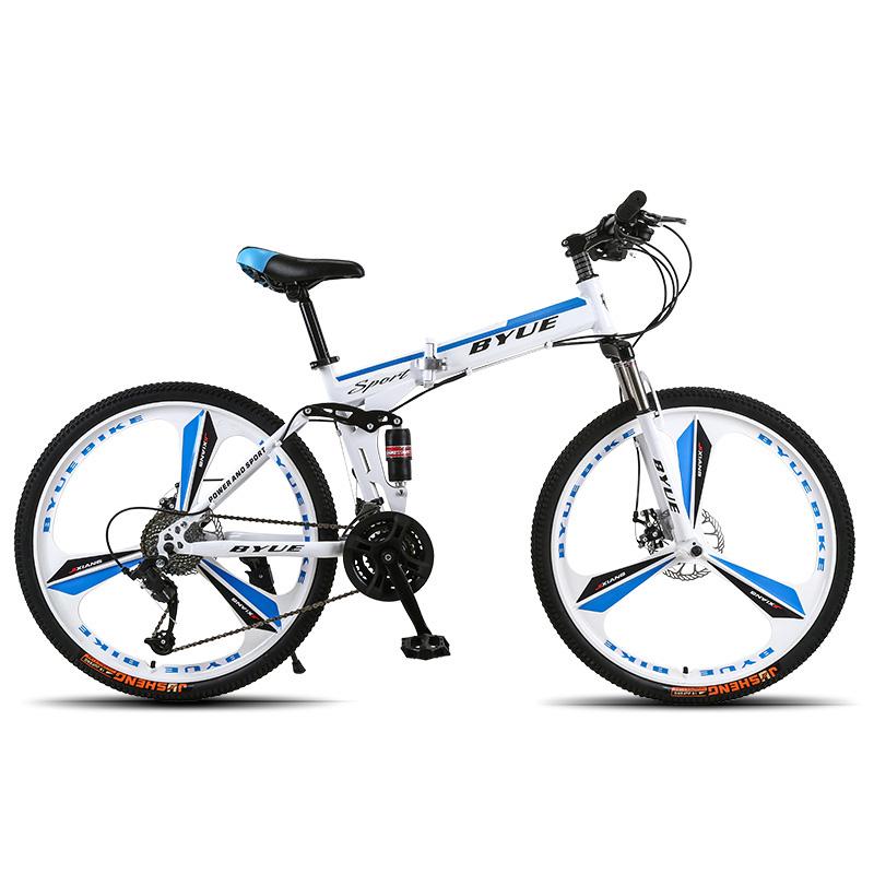 BYUEBIKE в целом Принн цвет колеса три нож 21 скорость behee 26 дюймы 21 скорость складной горный велосипед средняя ось двойной дисковый тормоз