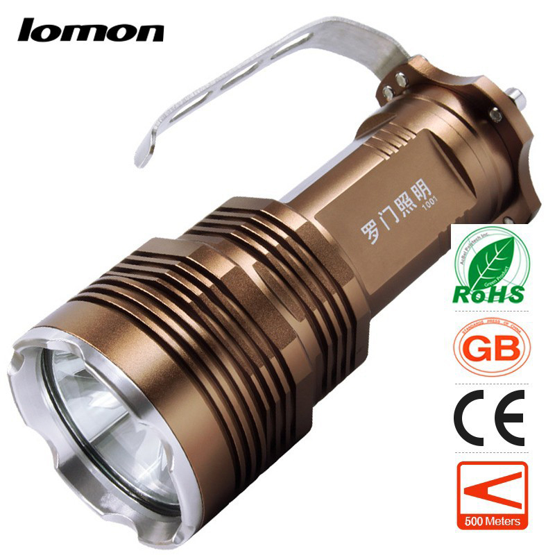 lomon коричневый 500m high quality waterproof torch led flash light bicycle mobile lamp aaa 18650 battery 2000lm xml t6 flashlights for hunting riding