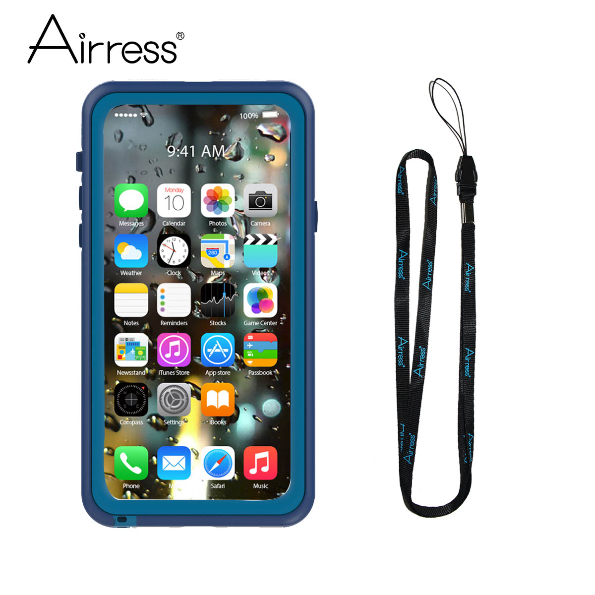 Airress Темно-синий iPhone X слепить охра телефон двойная открытка двойной оста водонепроницаемый пылезащитный старик телефон