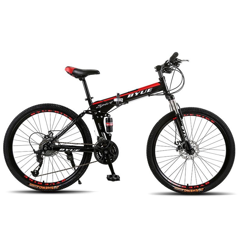 BYUEBIKE черный и красный спицы колеса 21 скорость behee 26 дюймы 21 скорость складной горный велосипед средняя ось двойной дисковый тормоз