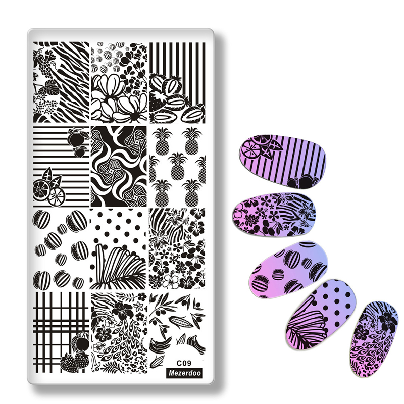 плакасы для штамповки цветочный лист тема прямоугольник nail art stamp template image plate lace grid dot pattern nail stamping plate с белой панелью c49