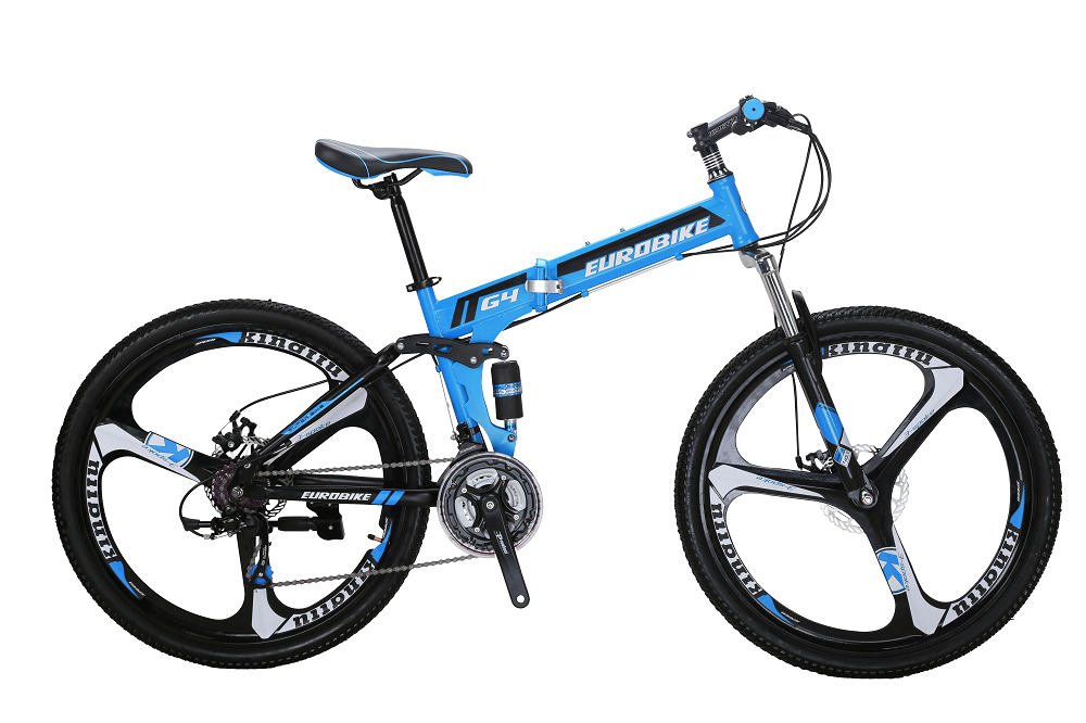 EUROBIKE Синий Стали behee 26 дюймы 21 скорость складной горный велосипед средняя ось двойной дисковый тормоз
