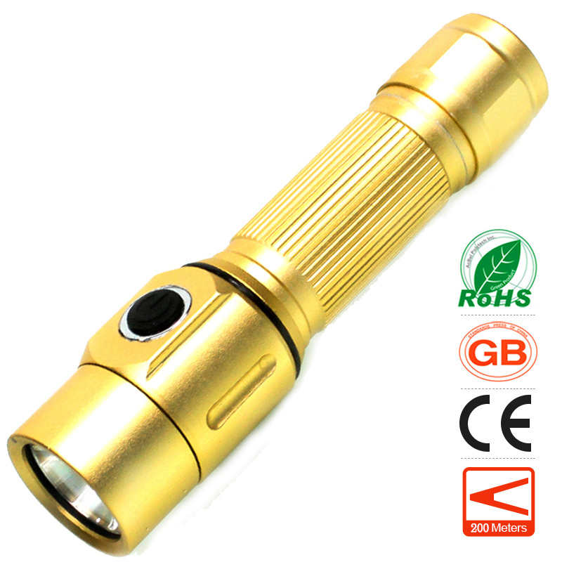 lomon золотистый 200m-500m portable ultra bright waterproof aluminum alloy mini led flashlight