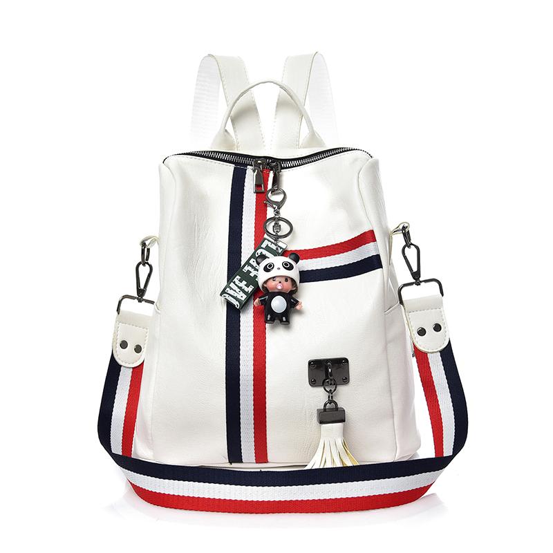 HANEROU белый средний новые мужские кожаные рюкзаки мягкие рюкзаки бизнес daypack рюкзак сумки