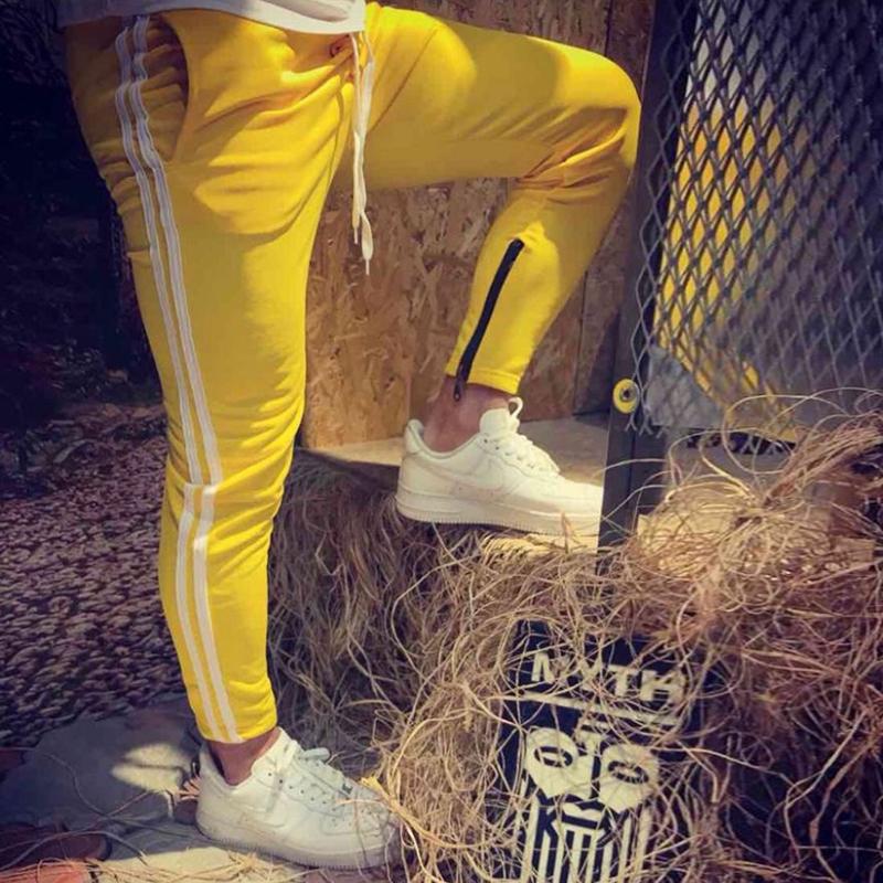 Nulibenna желтый XL женские брюки боковые полосы тренировочные брюки женские шнуровые брюки