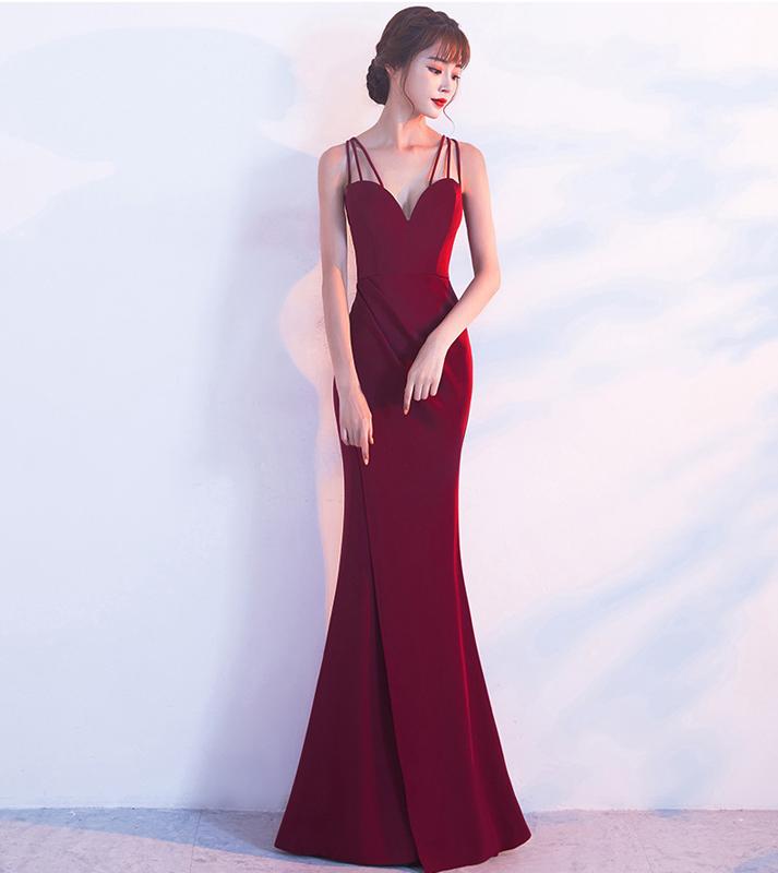 Kalinnu Вино красное M вечернее платье для банкета зимняя мода элегантная длинная сексуальная стропная тонкая юбка из фиолетового хвоста