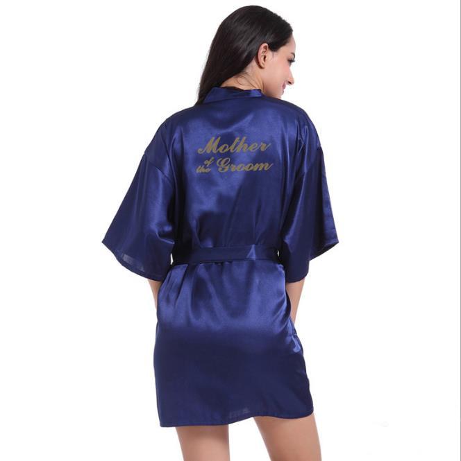 Рубашка Свадебный шелковый атлас Халат Халат Халат Новый oye Темно-синий XXL фото