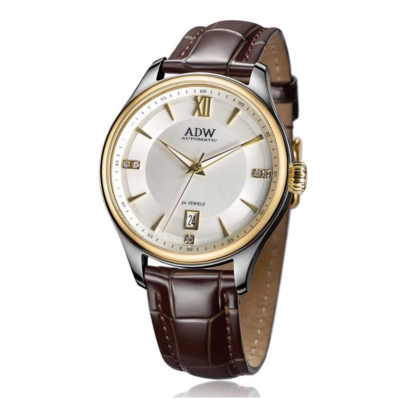 ADW  мужские часы с белым циферблатом и   кожаным ременем