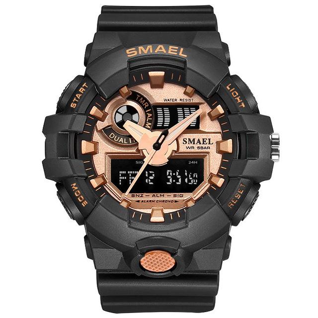Мужчина часы кварцевые часы smael Черный-золотой фото