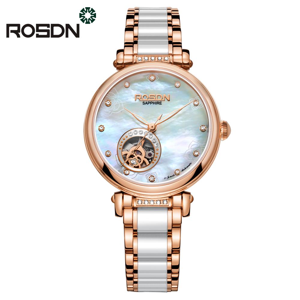 ROSDN Розовые золотые керамические женские часы золотые часы