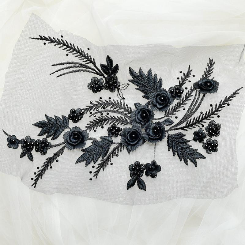 Zbroh Black обрезка буквенных патчей многоцветная вышивка кружева аппликация diy аксессуар