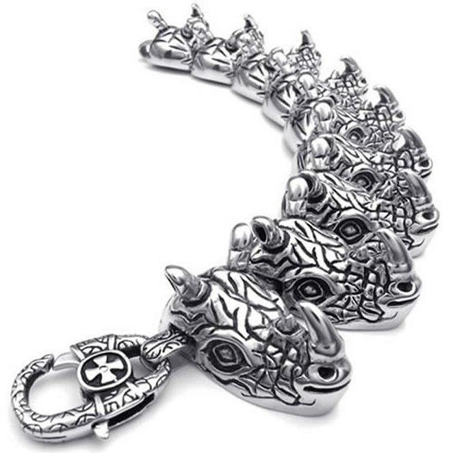 Hpolw hpolw menssilver и черный нержавеющая сталь застежками омаров браслет и готический череп скелет шарм байкерский браслет ссылка
