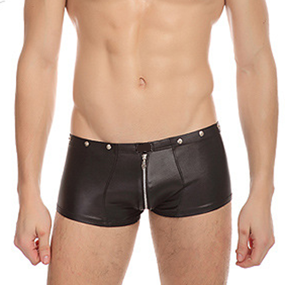 Sesibibi Black горячие charms mens underwear faux leather g string мужские боксеры jockstrap trunks женское нижнее белье застежка молния