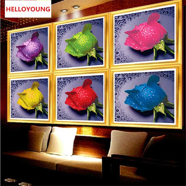 HelloYoung Синий цвет алмазная вышивка картина стразами кустовая роза алмазная живопись аж 1249