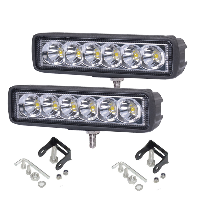 JAHURD 2X18W Наводнение 2x 7 inch round 75w led headlight drl hi lo beam black aluminum housing for jeep wrangler jk hummer