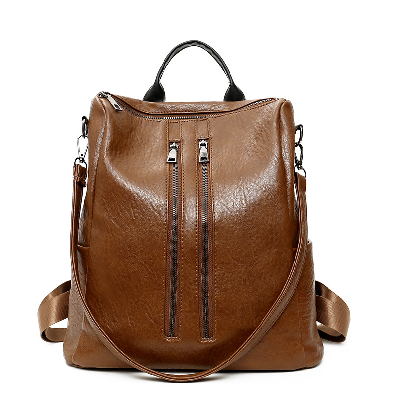 HANEROU Светло-коричневый fashion genuine leather backpack women school bags for teenage girls backpacks high quality rivet ladies backpack sac a dos 2018