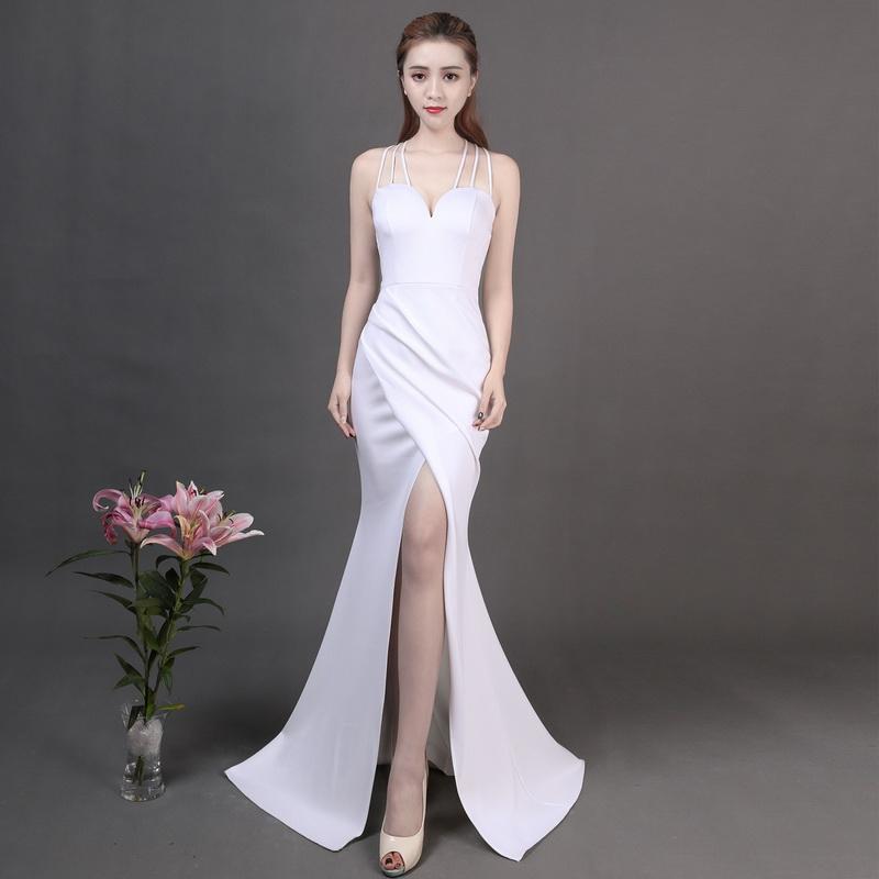 Kalinnu белый L вечернее платье для банкета зимняя мода элегантная длинная сексуальная стропная тонкая юбка из фиолетового хвоста