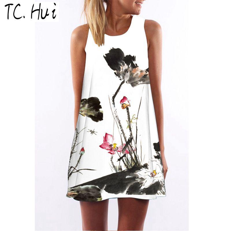 Summer Spaghetti Strap Tank chiffon Платье летнее платье майка Женское платье без рукавов Сексуальная пляжная одежда Сексуальная мода флуоресцентная краска Женская TCHui S фото