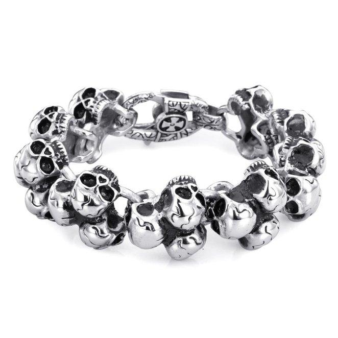 Hpolw череп из натуральной кожи из нержавеющей стали мужчины браслет wrap браслет для мужчин классический браслет мужчин браслеты для юв
