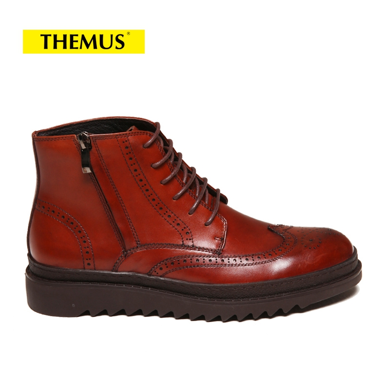 THEMUS Brown CHINA 42 large size eur45 brown black pointed toe serpentine chelsea boots mens ankle boots genuine leather boots mens dress shoes