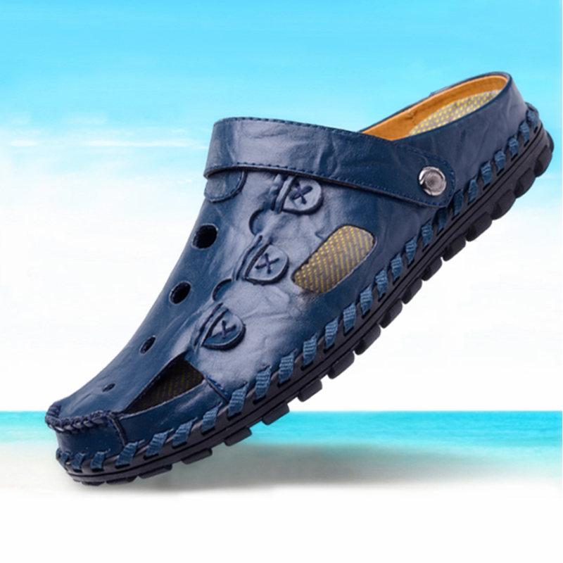 DJSUNNYMIX Blue 42 высокое качество мужские сандалии наружная мода подлинная кожаные сандалии мужские летние тапочки breathable sandals
