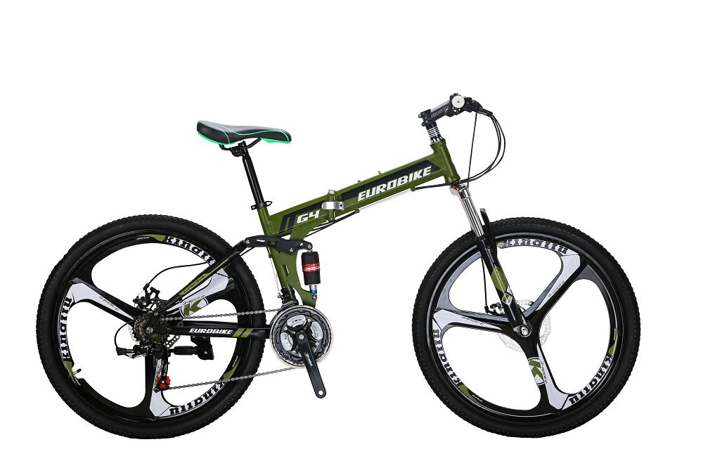 EUROBIKE Армейский Зеленый Стали behee 26 дюймы 21 скорость складной горный велосипед средняя ось двойной дисковый тормоз