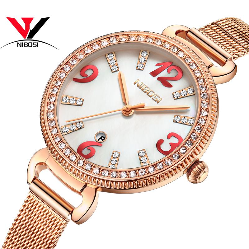 NIBOSI White Dial Steel Belt Female Watch женские наручные