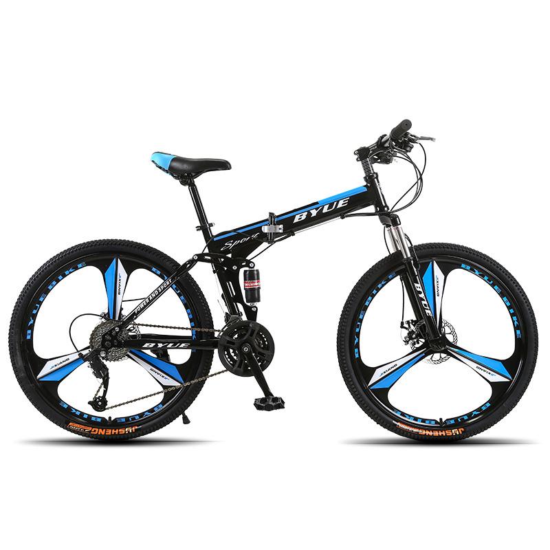 BYUEBIKE Три темно синий нож в целом колесо 21 скорость behee 26 дюймы 21 скорость складной горный велосипед средняя ось двойной дисковый тормоз