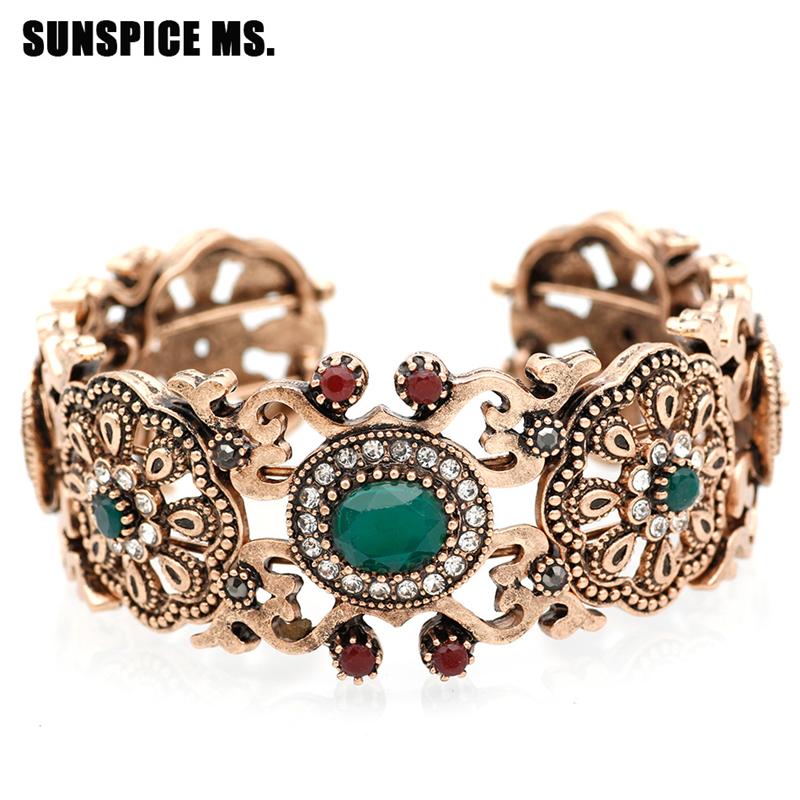 SUNSPICE MS Зеленый vintage frosted grid hollow out cuff bracelet for women