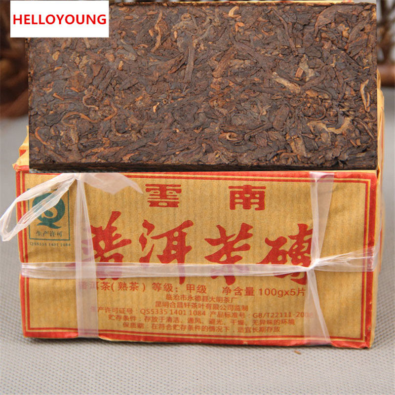 HelloYoung c pe027 china 5 100g pu er tea cakes cooked tea manufactured in 1995 chinese health natural organic green food weight loss