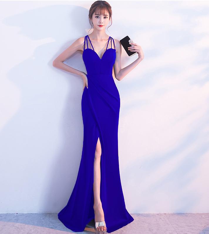 Kalinnu Королевский синий S вечернее платье для банкета зимняя мода элегантная длинная сексуальная стропная тонкая юбка из фиолетового хвоста