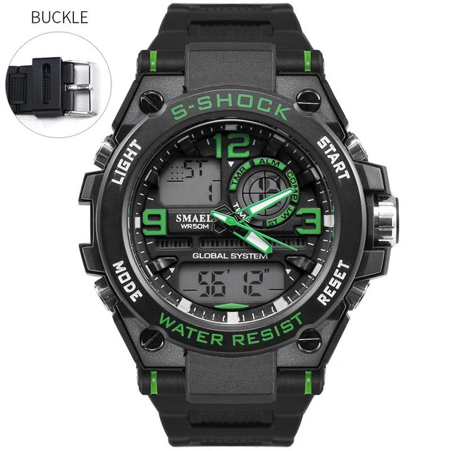 Мужские часы Кварцевые часы smael черный-зеленый фото