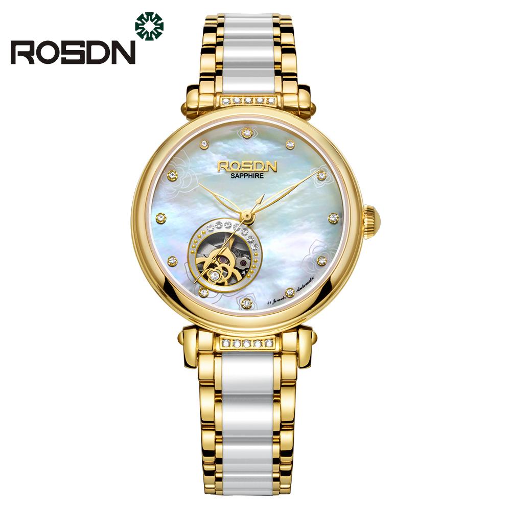 ROSDN Циферблат с золотой керамикой wh0020 модная серия наручные часы