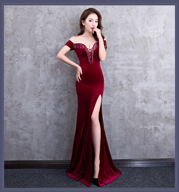 Банкетное вечернее платье Kalinnu Вино красное S фото