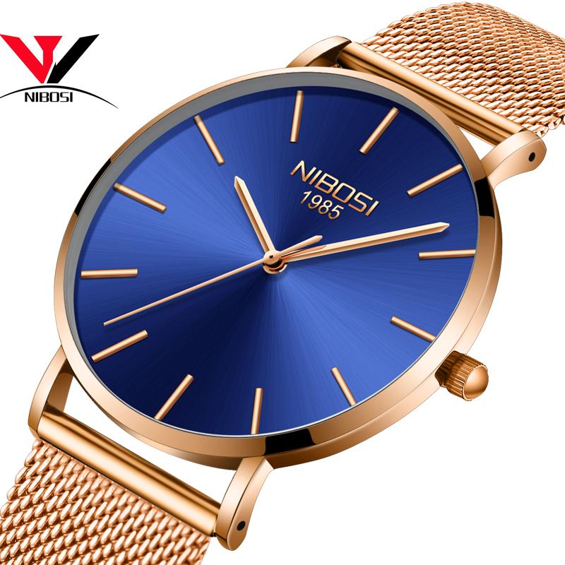 Наручные часы кожаные часы NIBOSI Черный циферблат черный стальной пояс Мужские часы фото