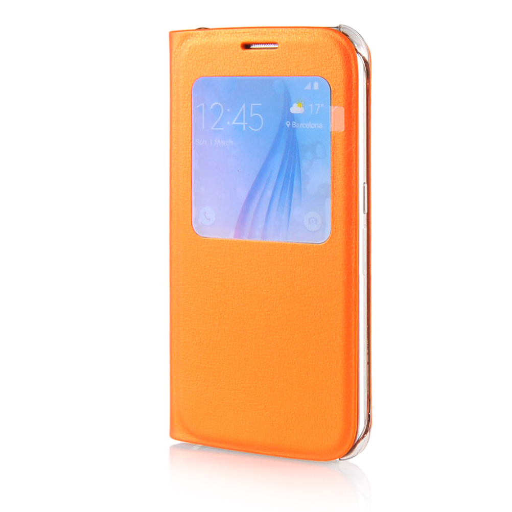 MOONCASE mooncase litchi skin золото chrome hard back чехол для cover samsung galaxy s6 edge orange