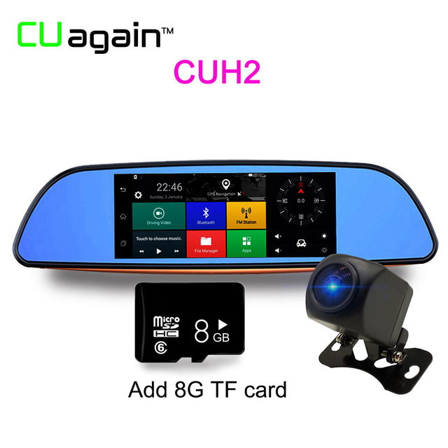 CUH28G 1080p relaxgo 5 android touch car dvr gps navigation rearview mirror car camera dual lens wifi dash cam full hd 1080p video recorder